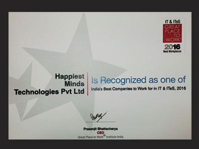 India's Best Companies to Work for in IT & ITeS Award