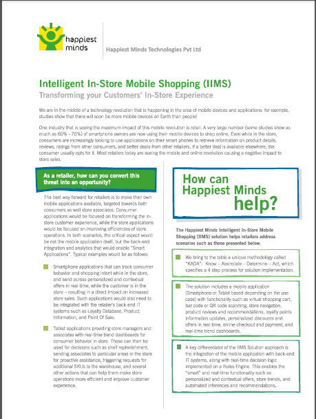 Intelligent In Store Mobile Shopping (IIMS)